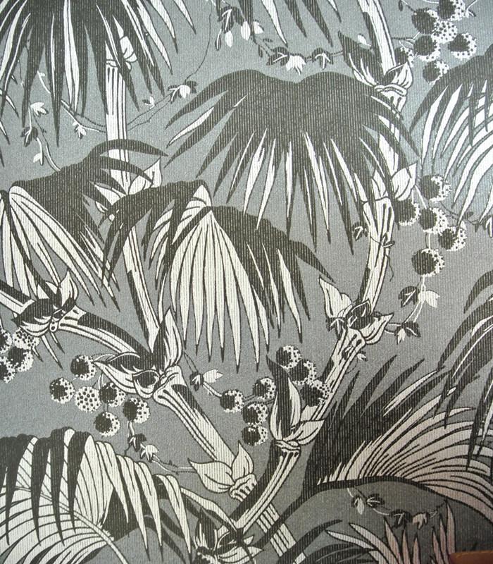 rubyi无纺布黑色热带雨林墙纸 88056