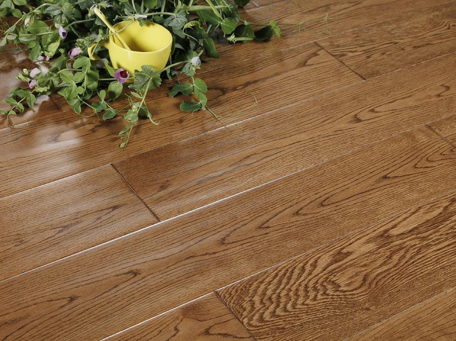 大卫地板 实木地板 杏黄色仿古栎木