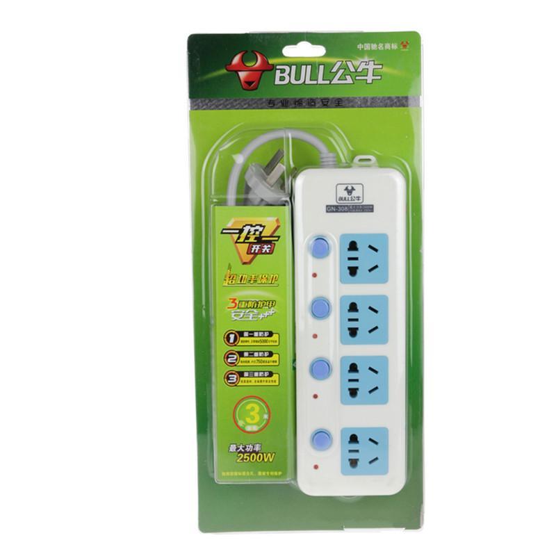 公牛插座 插排电源接线板排插板3米4插位