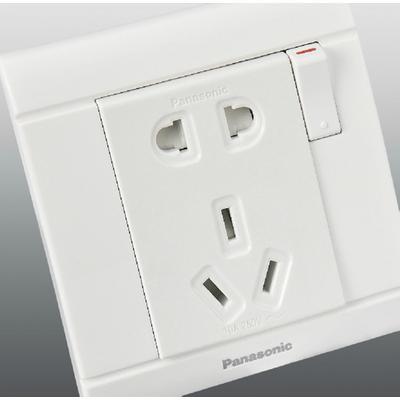 松下开关正品佳典纯系列86一开五孔插座带开关插座电源面板wms622