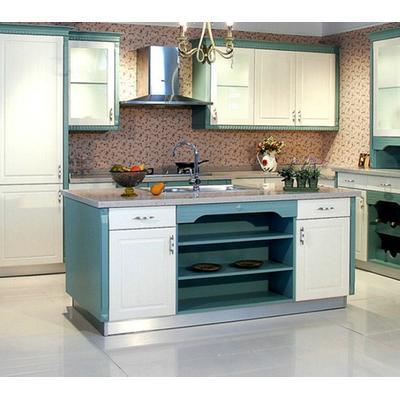 地中海风格厨房整体橱柜定做 进口吸塑模压岛台厨柜定制