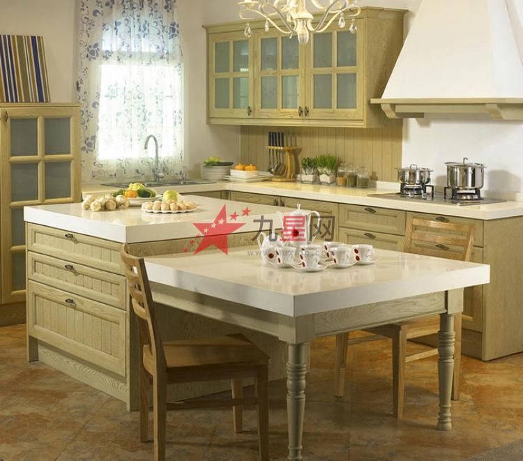 纯实木整体厨柜定做 美式乡村风格厨房厨柜定制