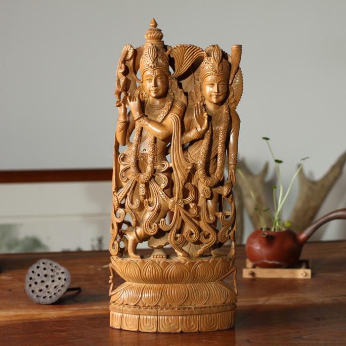 印度 老山檀香木雕 奎师那