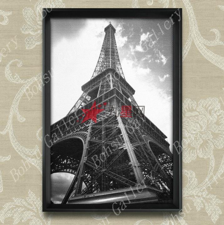 现代黑白建筑装饰画埃菲尔铁塔yk-jz-15客厅卧室书房有框画