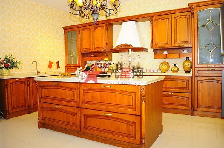 中岛型中式风格纯实木 美国红橡整体橱柜定做定制【洁雅】图片
