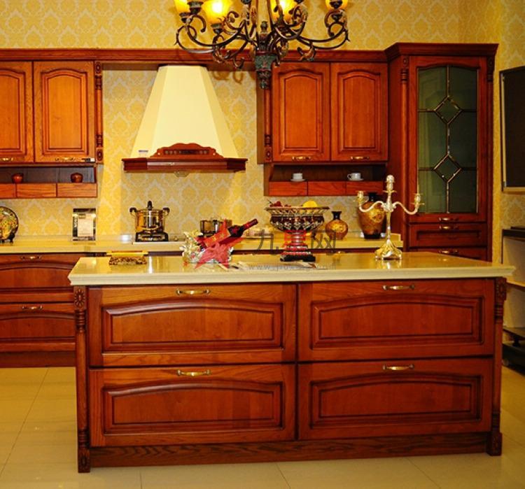 中岛型中式风格纯实木 美国红橡整体橱柜定做定制【洁雅】