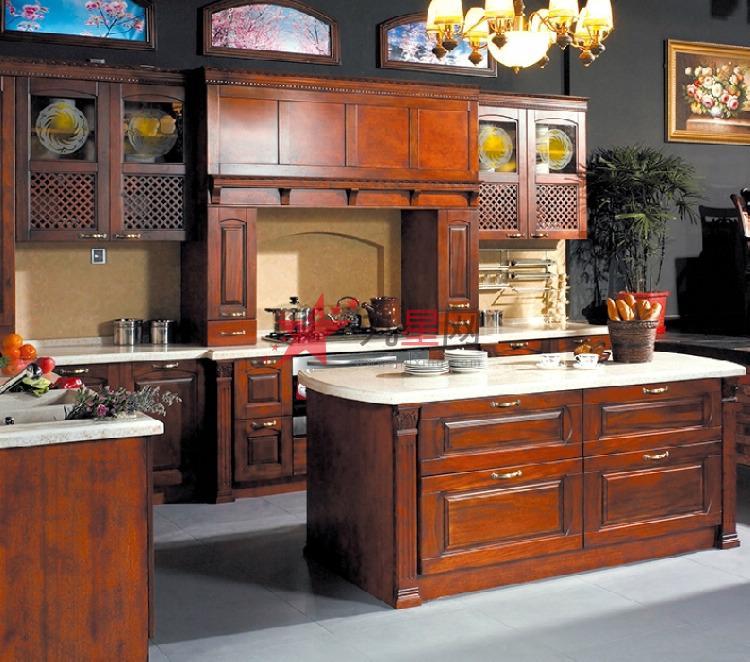 美式整体橱柜 纯实木橱柜定做 厨房整体厨柜定制【洁雅】