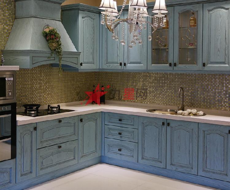 地中海欧式风格厨房整体橱柜美国橡木实木门板专业