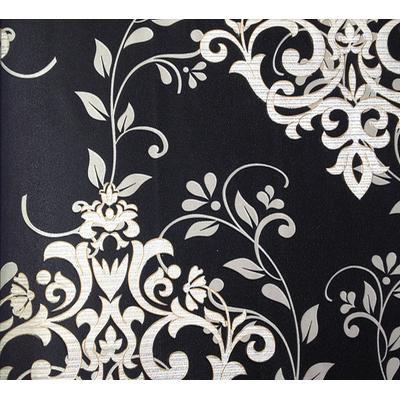 pvc墙纸 黑底白花 53×10m