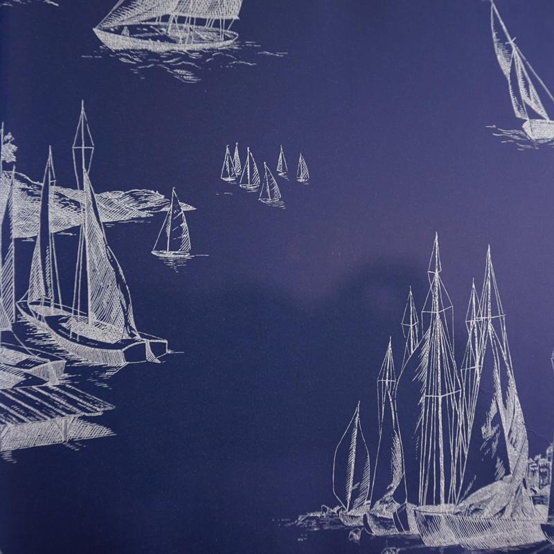 墙纸壁纸 客厅背景墙过道壁画 蓝底白色帆船