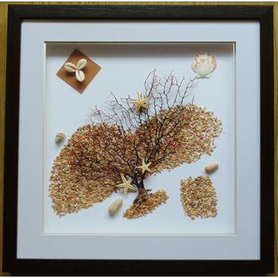 手工工艺品 新款装饰画 海星贝壳纯天然海树画