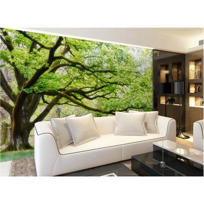 爱舍大型3d立体壁画 客厅影视墙电视沙发背景墙壁纸 大树风景无缝