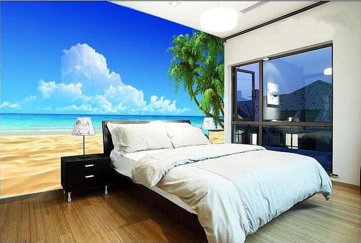 大型壁画地中海海景动感3d电视沙发背景墙壁纸