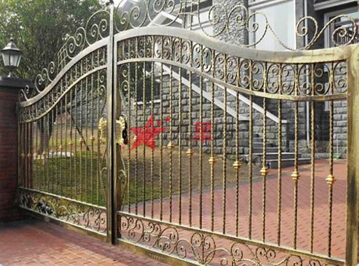 别墅仿古庭院门双开门围墙欧式花园门小区防盗铁门花