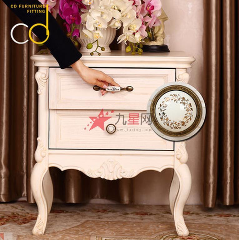 柜门现代简约欧式仿古拉手美式衣柜门把手田园陶瓷