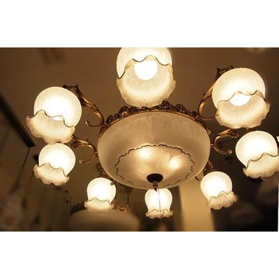 客厅吊灯 磨砂玻璃垂吊花朵型吊灯