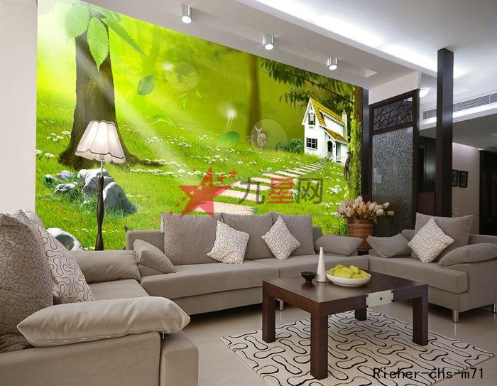 高档 彩绘 壁画 卧室客厅沙发电视背景 墙壁 纸 卡通 房子; 卓麦森