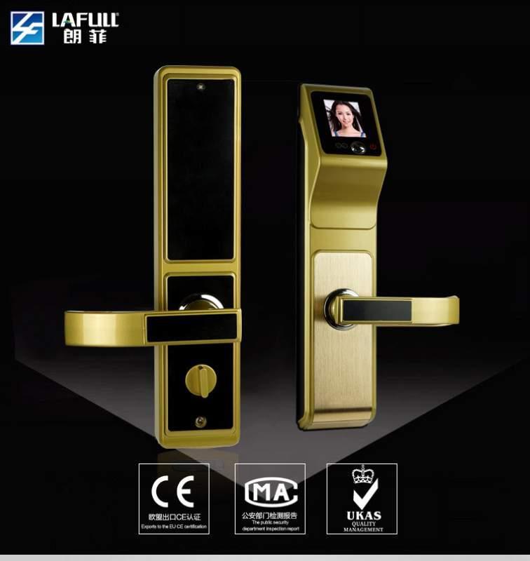 朗菲 智能门锁 防盗门 人脸识别密码磁卡锁 智能家居智能锁 金色