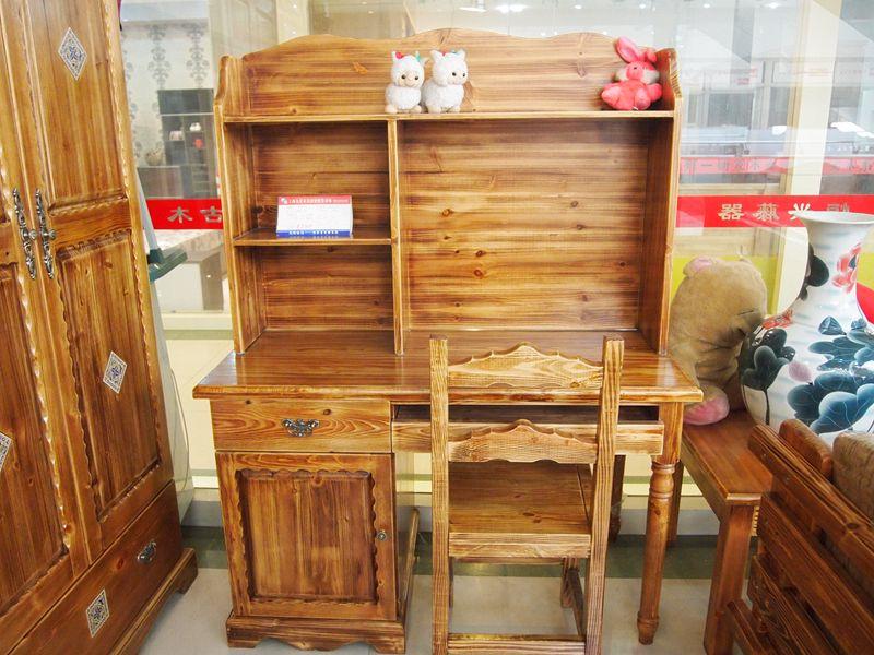 炭烧木全原木家具 儿童书桌 书架 一桌一椅