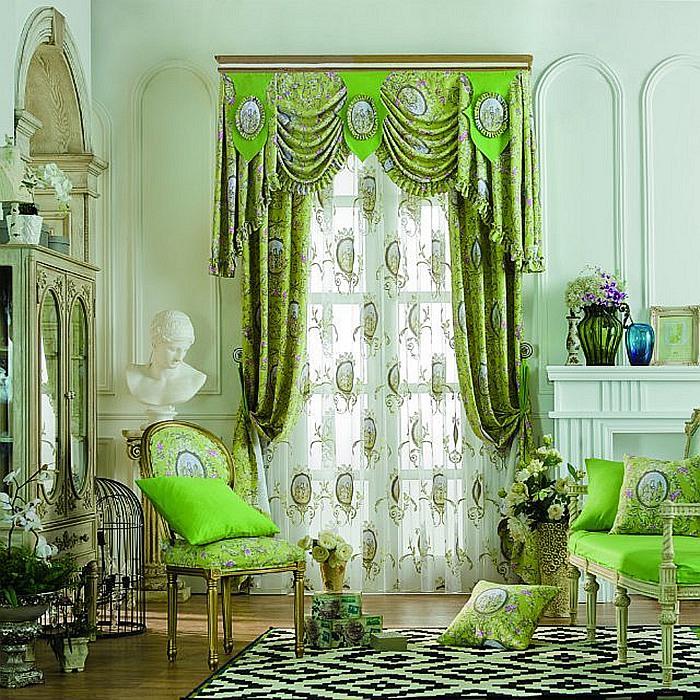 深绿色窗帘搭配效果图