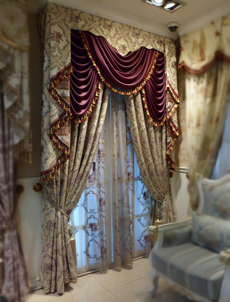 豪华欧式立体刺绣紫色花朵窗帘