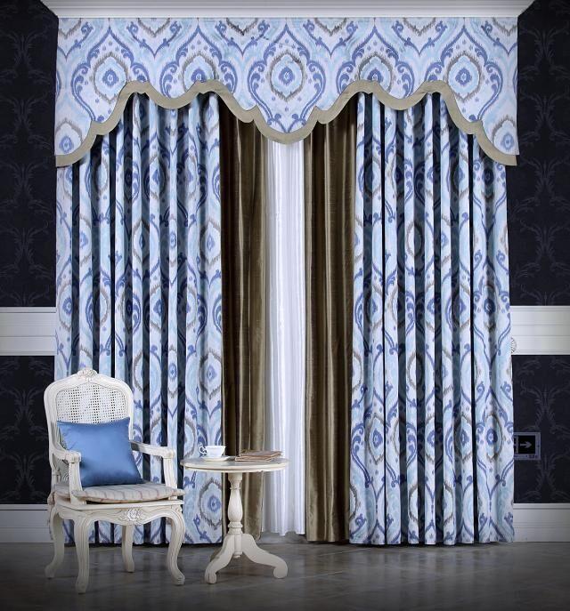 欧式宝蓝色窗帘