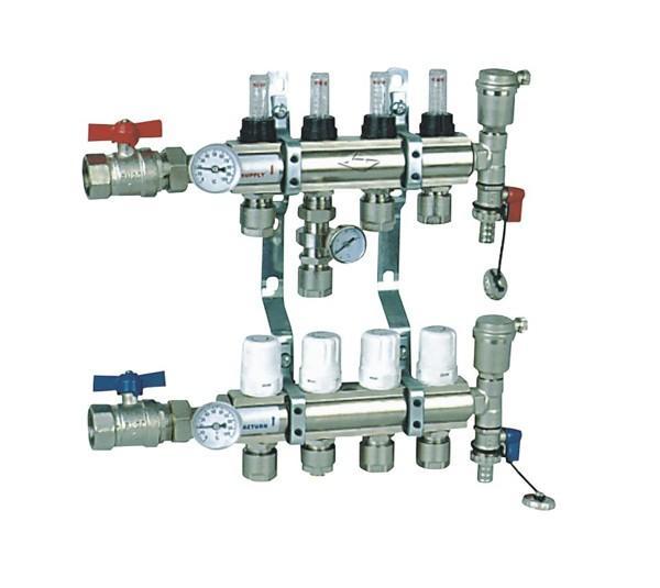 分配器连接顺序:连在供水干管—锁闭阀—过滤器