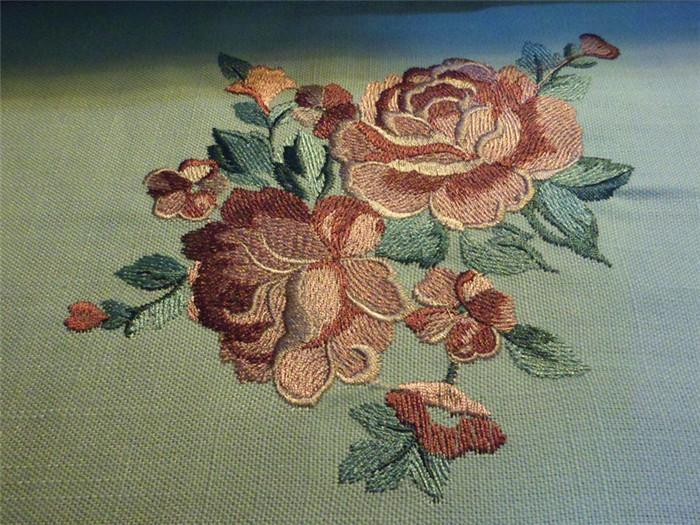 中式清新风格刺绣窗帘 淡雅玫瑰图片