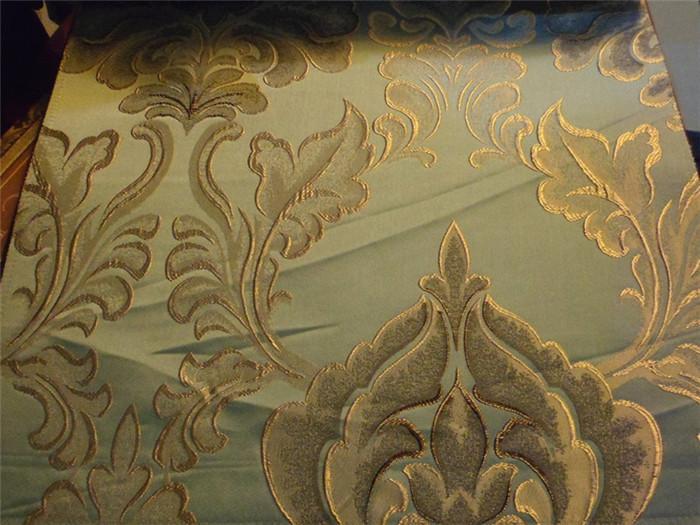 中式简约风刺绣窗帘 蓝底金色提花图片