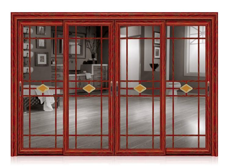 家美斯门窗 仿红木纹铝合金移门