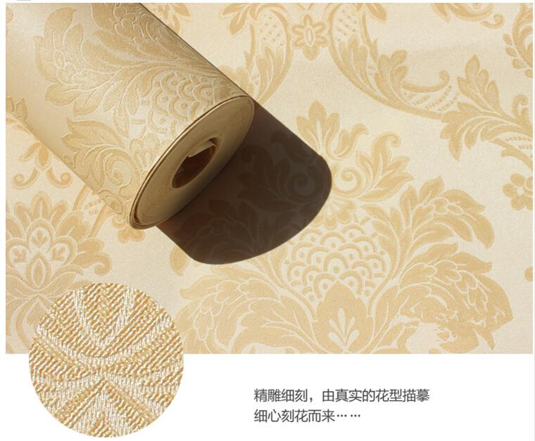 每卷宽度:0.53m 每卷长度:10m 颜色分类:米黄色08025 有无图案:有图案 图案:大马士革 风格:欧式 面层工艺:压花 适用空间:客厅 墙纸规格:5.3㎡ /卷