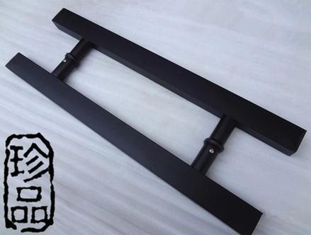 方管不锈钢玻璃门大拉手 KTV木门 有框铝合金推拉门 黑色大门把手