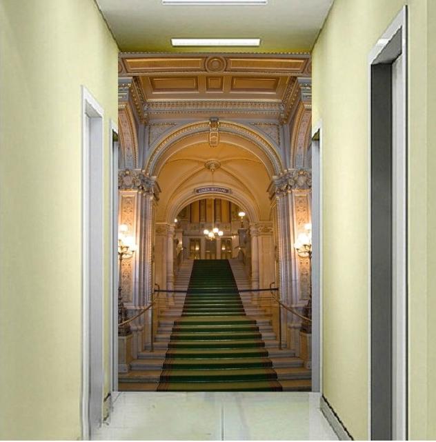 玄关竖版背景墙壁纸 走廊过道欧式墙纸