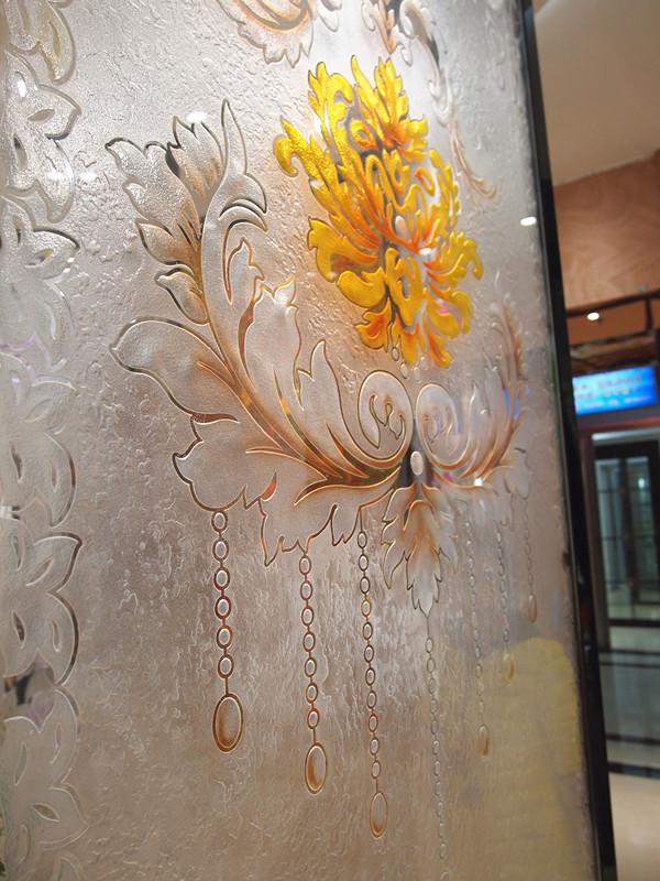 雅南艺术玻璃 欧式花艺术玻璃隔断