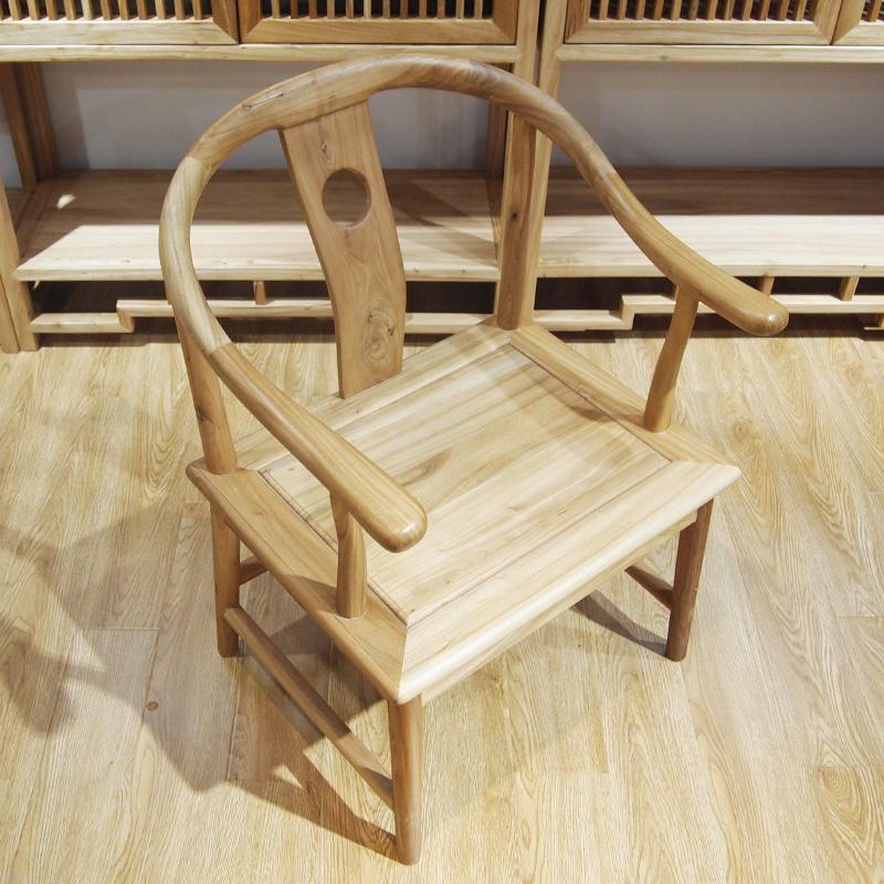 柳泉红木家具 老榆木圈椅 茶桌椅 牛角椅